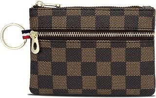 Triple Zip Checkered PU Vegan Leather Mini Coin Purse Key Ring Wallet Card Case