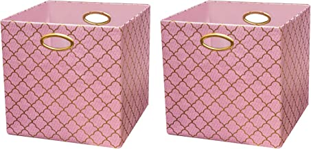 Posprica Storage Bins, Storage Cubes,13×13 Fabric Drawers Organizer Basket Boxes Containers (2pcs, Lotus Leaf lace-Pink)