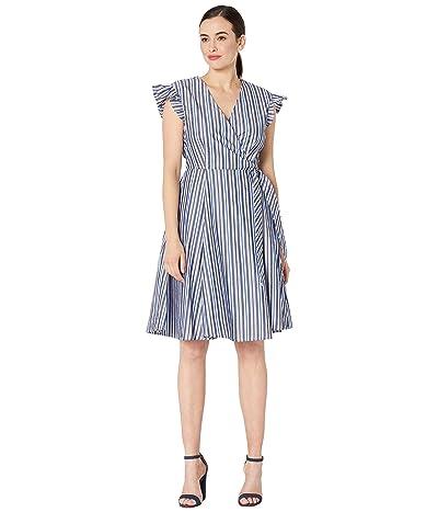 Calvin Klein Flutter Sleeve Cotton Stripe Dress (Capri/White Multi) Women