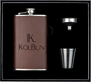 Kolbun Small, Stainless Steel Hip Flask 6oz | Long Lasting Leather Flask, 100% Leakproof, Laser Welded | The Most Complete Flask Gift Set for Men, Women