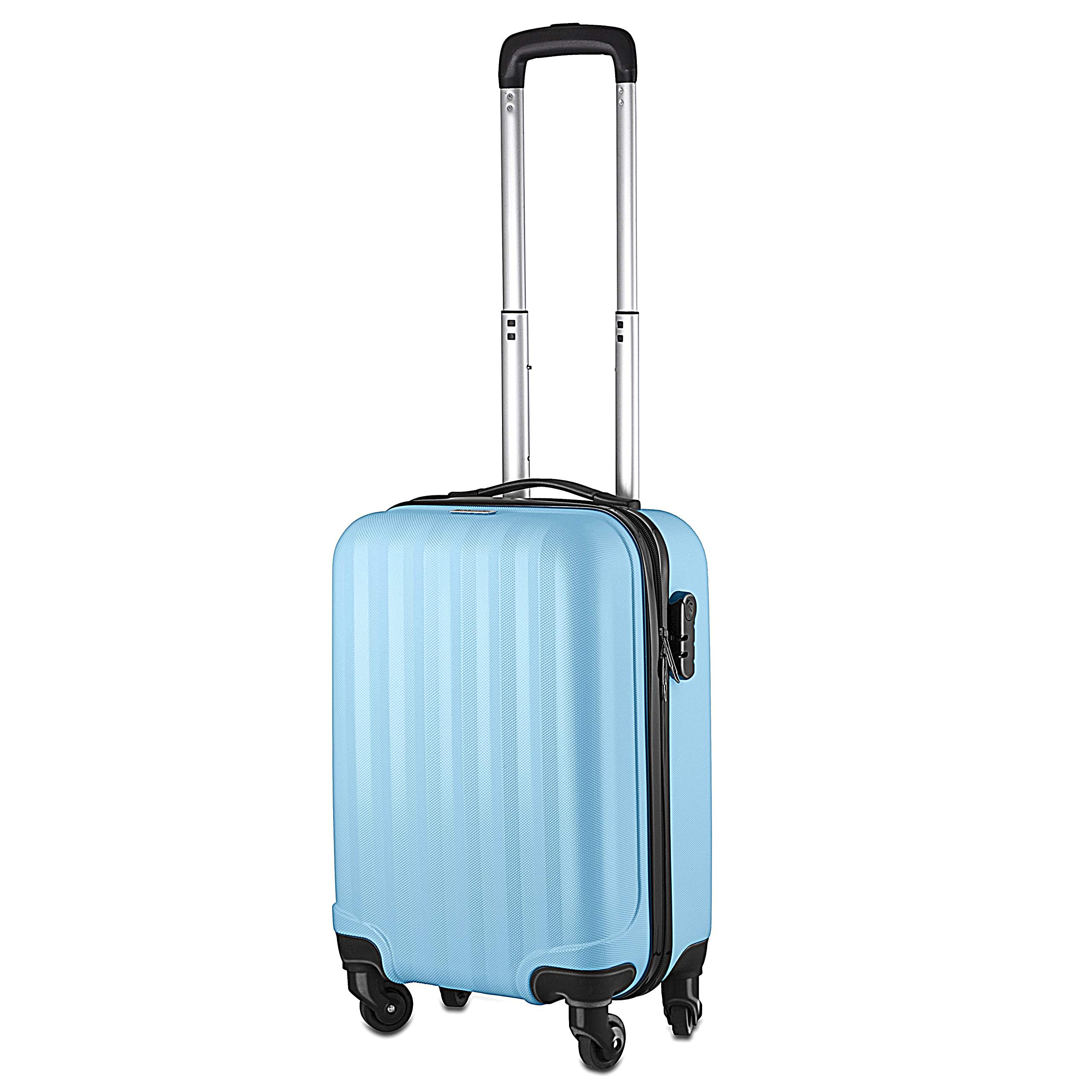 Fun Luggage Multi Coloured Cabin Bag | Carry On Flight Case Wheels Hard | Ryanair Easyjet Flybe (Summer Skies Blue)