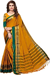 bfde32ec67bca4 SAREE MALL Women'S Cotton Silk Saree With Blouse Piece (Mustard_Free Size )