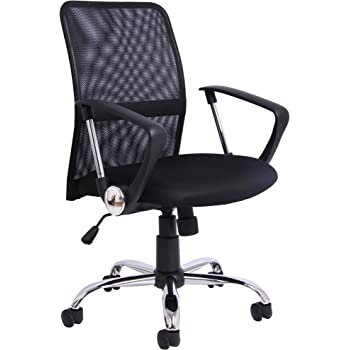 Office Essentials Office Chair with Arms, Adjustable Office Desk Chair for Home with Swivel and Wheels, Mesh, Black