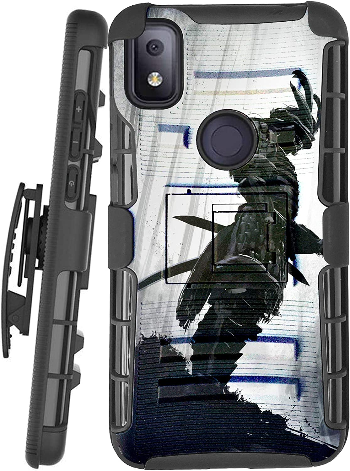 DALUX Hybrid Kickstand Holster Phone Case Compatible with T-Mobile REVVL 4 (2020) - Gray Forest Warrior