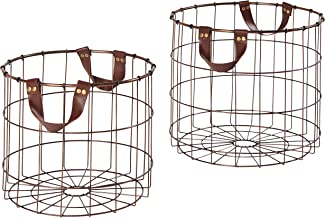 Stone & Beam Modern Round Metal Wire Storage Basket with Faux Leather Handles - Pack of 2, Brown
