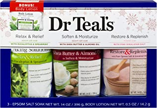 Dr Teal's Epsom Salt Variety Pack (Eucalyptus & Spearmint, Shea Butter & Almond Oil, Pink Himalayan 14 oz. bags) w/ 1 oz. ...