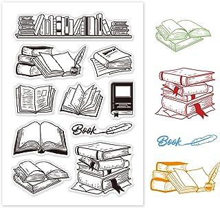 GLOBLELAND Livres Motif Tampons Clairs Cartes de Timbre en Silicone pour la Fabrication de Cartes et Le Scrapbooking