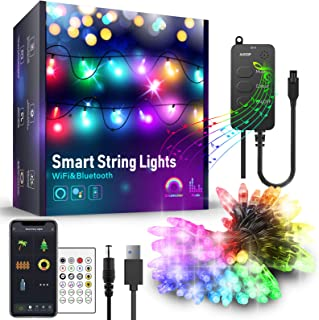 Outdoor String Lights 16.4ft, AUOOP Dream Color Changing String Light Smart Controlled by App,RGB Waterproof Patio Fairy S...