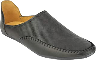 Mens Black Brown Faux Leather Side Open Slip on Shoes Flat Soles Loafers Moccasins