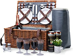 Wicker Picnic Basket Sets for 4 Persons with Insulated Cooler &Waterproof Blanket , Hamper Cutlery Service Kit ,Willow Cla...