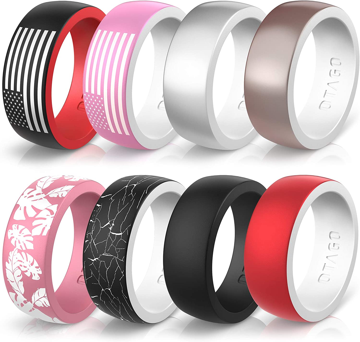Lightness and Soft for Active Stylish Adorable Sports Wedding Bands Ring.(Size5-12) OTAGO Silicone Wedding Rings for Men 8 Packs Multicolor Collection 8 mm Wide and 2mm Thick