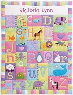 Personalized Baby Quilt - Baby Blanket - Pastel Colors - Embroidered Custom Personalization - Baby Girl - 100% Cotton - Al...