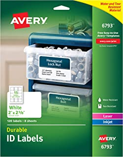 Avery Durable ID Labels, Permanent Adhesive, 2 x 2-5/8, Pack of 120 (6793)