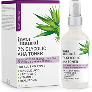 Glycolic Acid Toner 7% with Vitamin C - Anti Aging Pore Minimizer, Blackhead & Brightening Treatment - AHA Exfoliating Astringent - Skin Hydrating Glow Tonic for Face - Lactic Acid, Alpha Hydroxy Acid