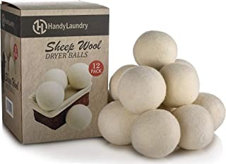 Wool Dryer Balls - Natural Fabric Softener, Reusable, Reduces Clothing Wrinkles and Saves Drying Time. The Large Dryer Ball is a Better Alternative to Plastic Balls and Liquid Softener. (Pack of 12)