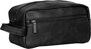 Ben Sherman Noak Hill Collection Vegan Leather Toiletry Travel Kit, Black, Single Compartment