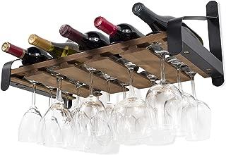 Rustic State Wall Mounted Wood Wine Rack or Liquor Bottle Storage Holders | Stemware Racks Organizer (Walnut)