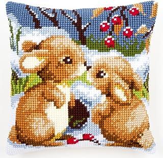 Vervaco Kaninchen im Schnee Kreuzstichkissen/Stickkissen vorgedruckt, Baumwolle, Mehrfarbig, 40 x 40 x 0.3 cm