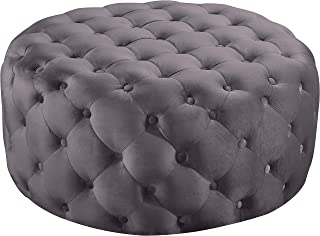 Meridian Furniture Addison Collection Modern | Contemporary Grey Velvet Upholstered Ottoman/Bench with Deep Button Tufting, Solid Wood Frame, Round,