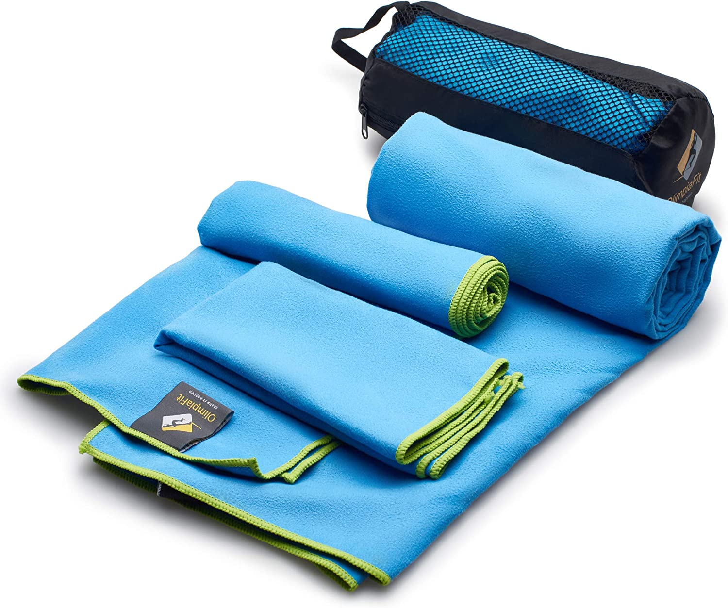 Set of 3 Microfiber Towels  Best For Gym Sports Travel Camp Outdoor  Quick Dry   Absorbent   Antimicrobial   Compact   Lightweight  Gift Toiletry Bag