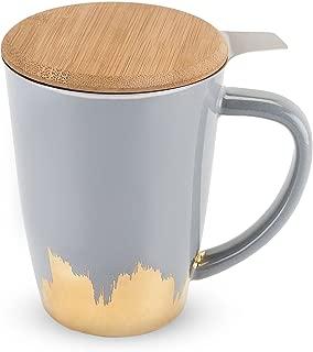Pinky Up 5057 Bailey Grey and Gold Tea Mug & Infuser Cups, Mugs & Saucers, Grey & Gold