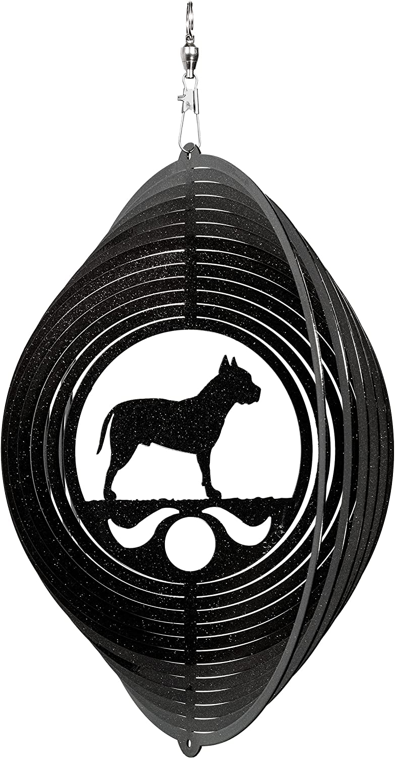 SWEN High In a popularity material Products American Stafford Pit Metal Circle Swirly Bull Win