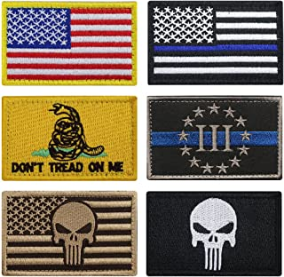 Bundle 6 Pieces Full Color USA American Thin Blue Line Police Flag Three Percenter Tactical Don`t Tread On Me Fully Embroidered Morale Tags Patch