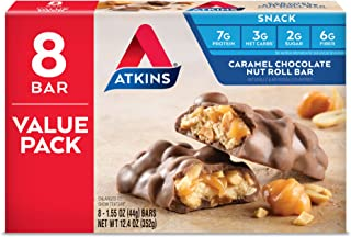 Atkins Snack Bar, Caramel Chocolate Nut Roll, Keto Friendly, 12.4 Ounce (Pack of 1)