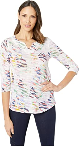 Printed Fancy Knit 3/4 Sleeve Notch Neckline Top