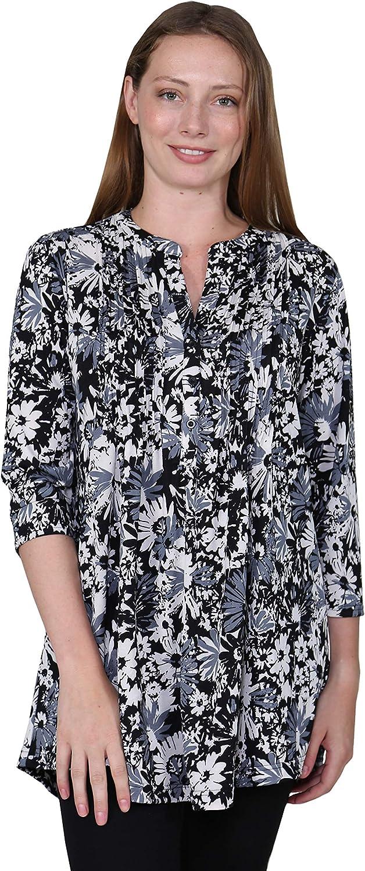 LA CERA Women's Plus Size Printed Tunic Blouse
