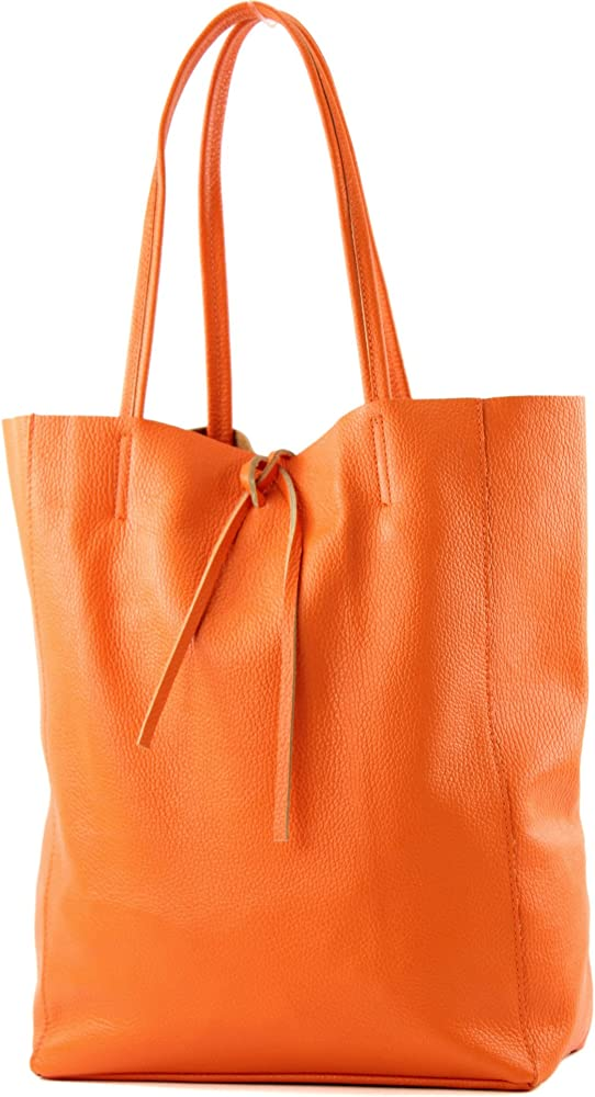 Modamoda de, borsa in pelle, shopper per donna a spalla, arancione T163OG2