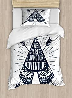 Ambesonne Adventure Duvet Cover Set, Teepee Crossed Arrows We are Living Our Adventure Inspirational Words, Decorative 2 Piece Bedding Set with 1 Pillow Sham, Twin Size, Petrol Blue