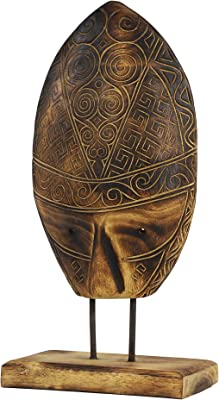 """Deco 79 38980 Carved Tribal Mask Reclaimed Wood Sculpture on Albizia Wood Stand, 10.5"""" x 21"""""""