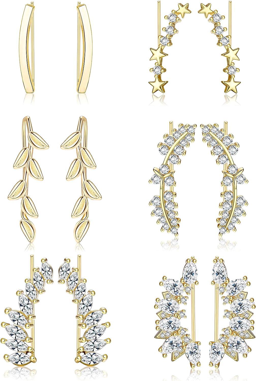 Finrezio 6 Pairs Ear Cuffs Climber Hoop Earrings for Women CZ Leaf Star Wing Curved Crawler Earrings Cartilage Piercing Hypoallergenic