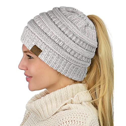 f84b0bd7f99 C.C BeanieTail Soft Stretch Cable Knit Messy High Bun Ponytail Beanie Hat