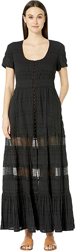 Lace Combo Front Slit Maxi Dress Cover-Up