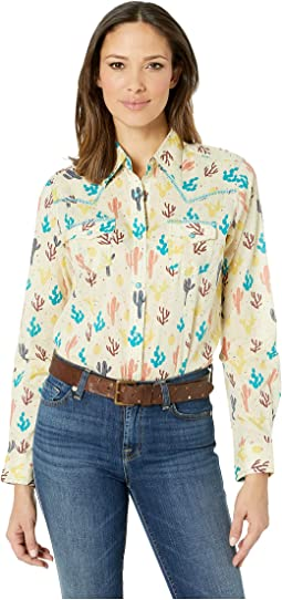 Western Long Sleeve Snap Cactus Print Shirt