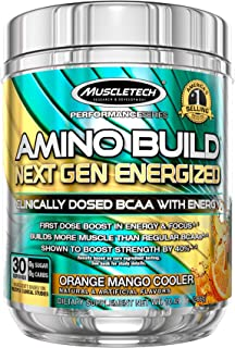 BCAA Amino Acids + Energy | MuscleTech Amino Build Energized | Pre Workout BCAAs + Electrolytes | Support Muscle Recovery,...