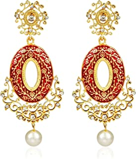Crunchy Fashion Bollywood Style Stylish Traditional Indian Jewelry Drop Earrings for Women