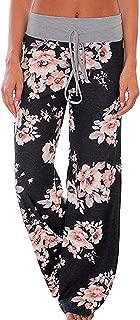 Angashion Women's High Waist Casual Floral Print Drawstring Wide Leg Pants