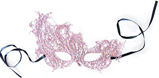 Pretty Venetian Pink Lace Masquerade Mask. for Women. Soft and Flexible, Neutral Color Complements Any Costume, Halloween, Ball, Mardi gras, or Cosplay Dress
