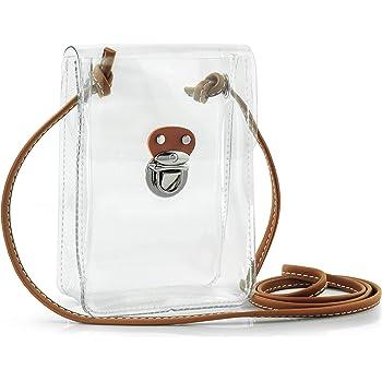 Hoxis Clear Vintage Satchel Backpack Multifunction Unisex Transparent Shoulder Handbag Messenger Cross Body Bag Stadium Approved