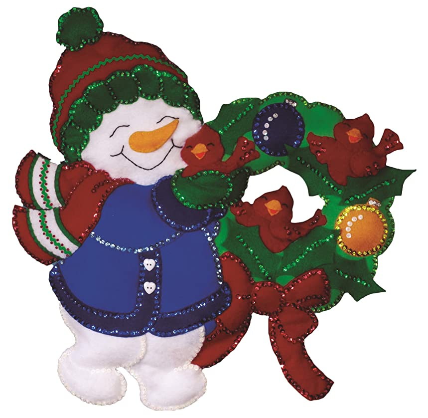Tobin DW5189 Snowman and Cardinals Wall Hanging Felt Applique Kit, 16 by 17-Inch