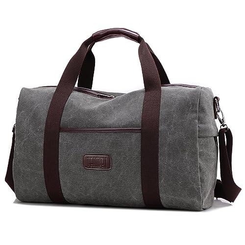 5477e0d38d6ac Weekender Bag Reisetasche TEAMEN Sporttasche Handtasche Canvas PU Leder  Tasche Umhängetasche Schultertasche Henkeltasche 20L für Einkaufen