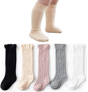 CozyWay Knee High Socks Newborn Infants Toddlers Girls 5 Pack Tube Ruffled Uniform Long Stockings