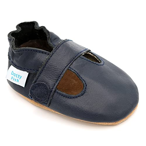 cb22516cab52 Dotty Fish Soft Leather Baby Shoes. Non Slip Suede Sole. Classic Red
