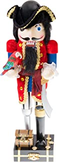 Clever Creations Pirate Captain Nutcracker Tri Fold Hat, Parrot and Sword   Perfect Collection to Any Collection   Festive Christmas Decor   Perfect for Shelves and Tables   100% Wood   14