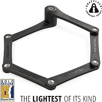 FOLDYLOCK Compact Bike Lock Black | Extreme Bike Lock - Heavy Duty Bicycle Security Chain Lock Steel Bars| Carrying Case Included
