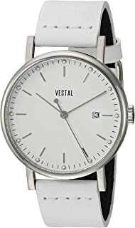 Vestal Sophisticate 36 Stainless Steel Swiss-Quartz Watch with Leather Strap, White, 18 (Model: SP36L03.WH)