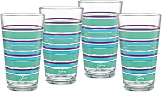 Officially Licensed Fiesta Stripes 16-Ounce Tapered Cooler Glass (Set of 4) (Farmhouse Chic Collection)